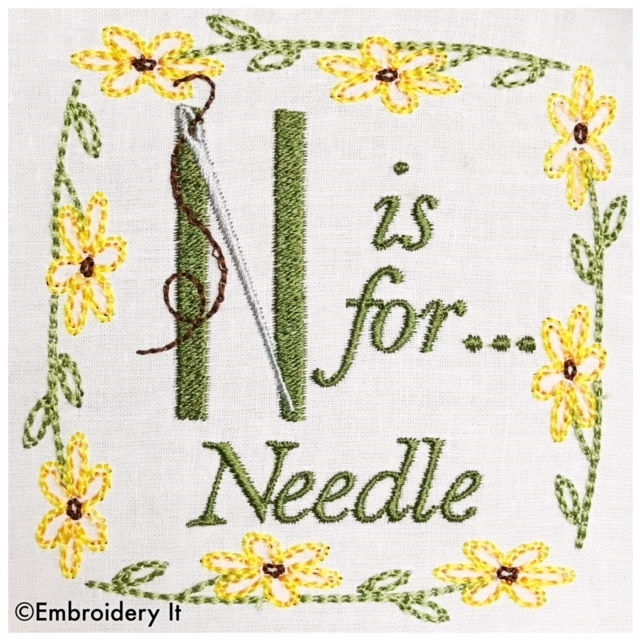 Embroidery Words Alphabet Letter N - Machine Embroidery Design in Pes, Dst, Exp,