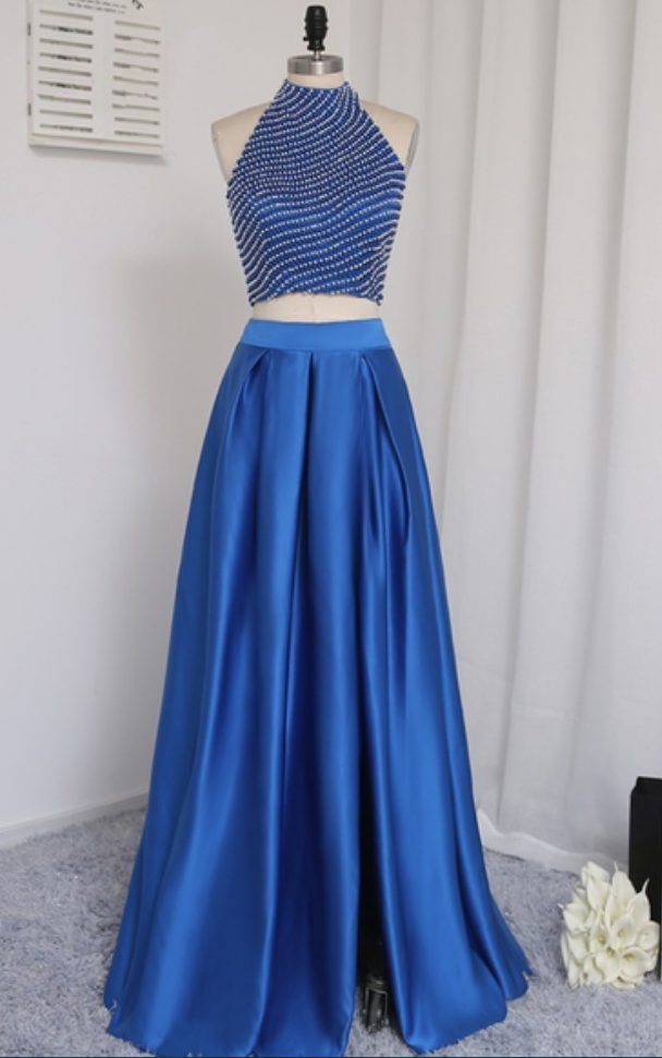 2018 Two Pieces Long Satin Prom Dresses Crystals Floor Length Women Dresses
