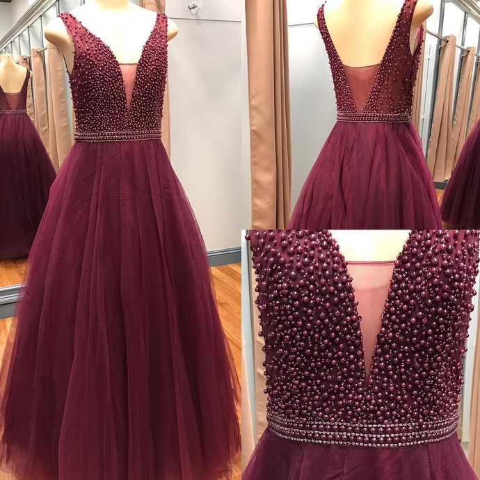 Burgundy Evening Dress,Tulle Prom Dress,Pearl Dresses,Sexy Prom Dresses