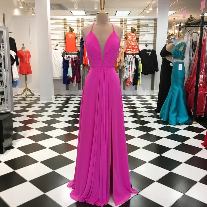 Flowy Long Chiffon Prom Dress with Slit dresses 2018