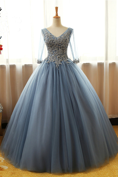 Charming Prom Dress, Elegant Prom Dress, Tulle Ball Gown Prom Dress, Appliques