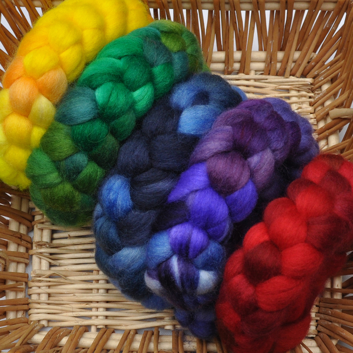 Hand Dyed Rainbow Color 5-pack  - Superwash BFL wool / Nylon 80/20% spinning