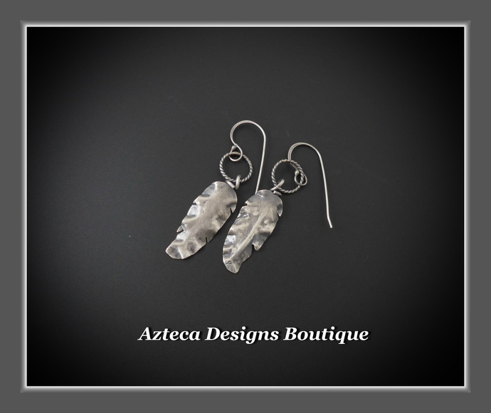 Hand Fabricated Rustic Argentium (93.5) Silver Feather Earrings