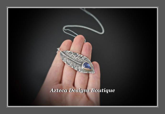 Hand Fabricated Rustic Argentium (93.5) Silver Tanzanite Feather Pendant