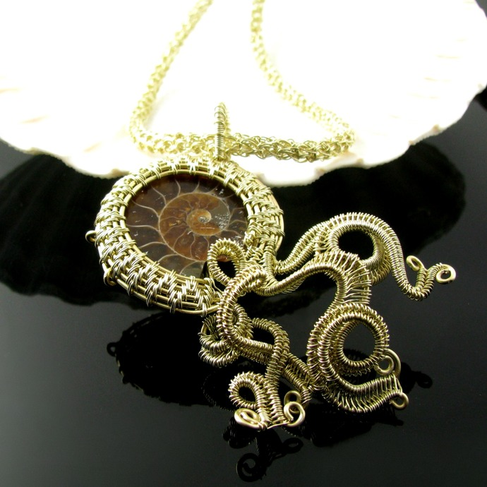 Light golden ammonite wire woven and crochet necklace