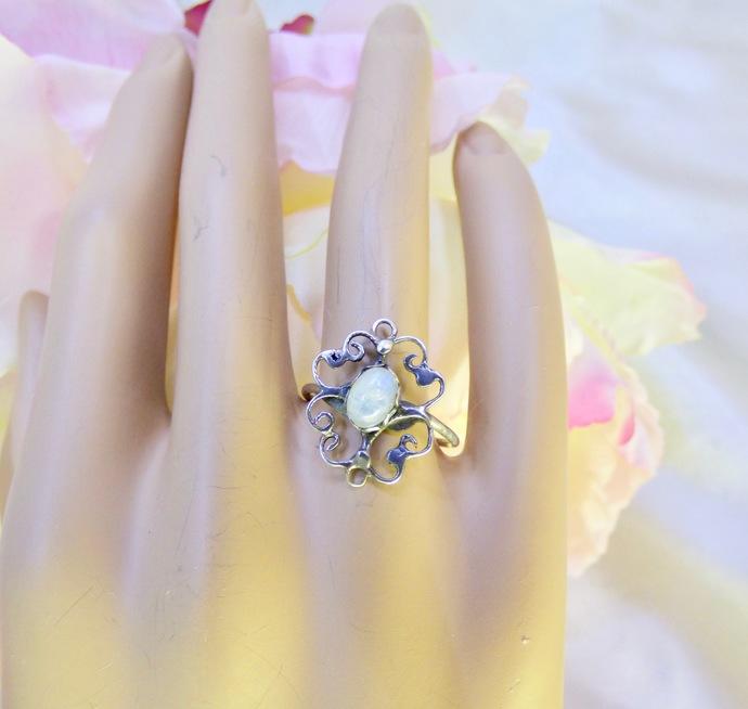 Moonstone Filigree Ring