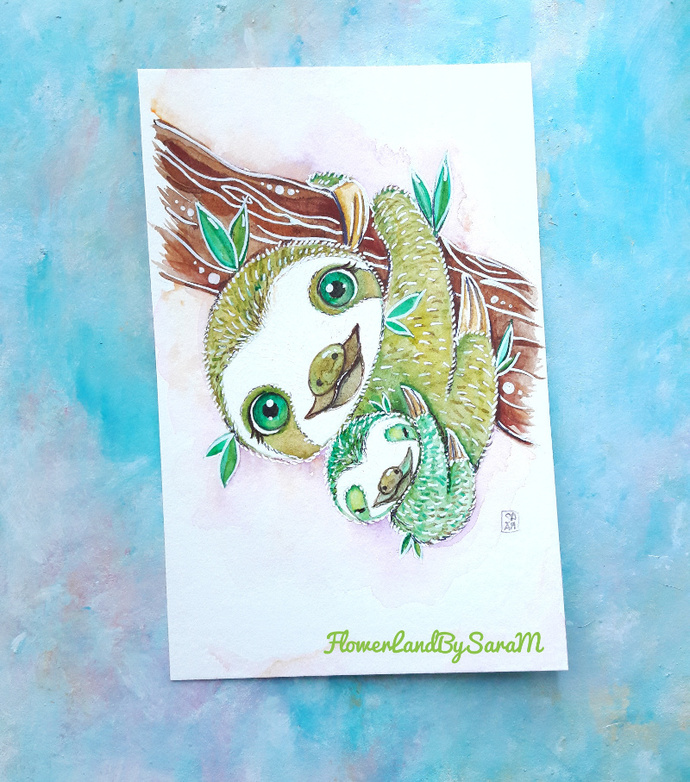 Mama sloth and her baby. Original watercolor painting
