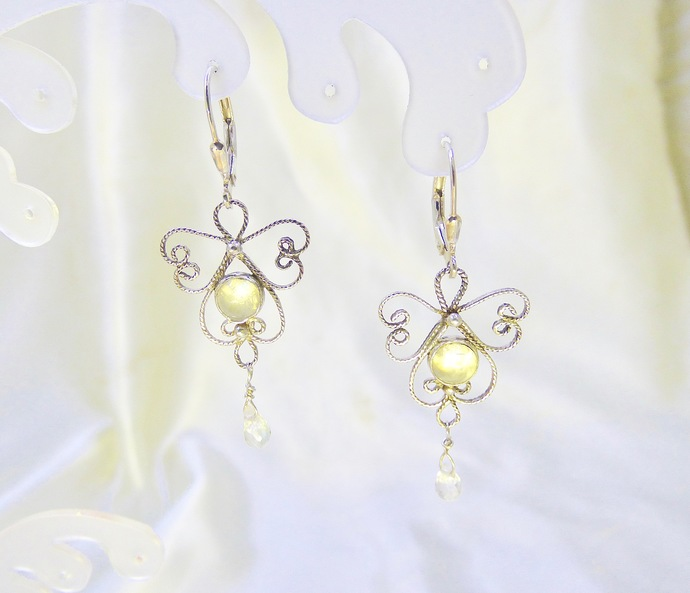 Angels Breath Moonstone Sterling Silver Earrings