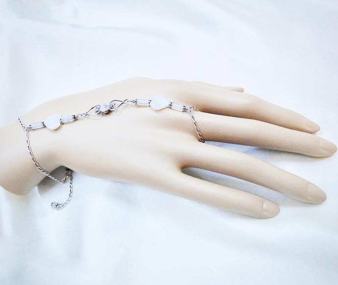 Sterling Silver Moonstone Heart Slave Bracelet