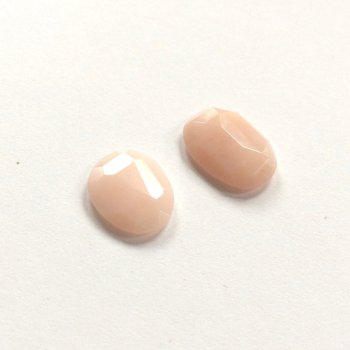 Pink Opal Gemstone Cabochon Free Form Faceted Polki Parcel TWO CABS
