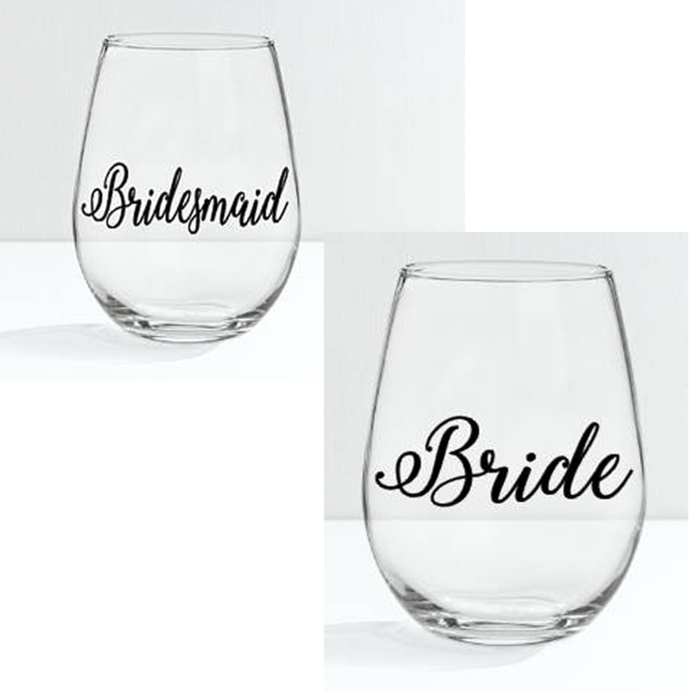 Bride / Bridesmaid Glass /  Maid of Honor Glass- Bridal Party Gift Stemless
