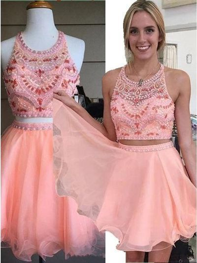 Blushing Pink Chiffon Short Prom Dress, Two Pieces Prom Dress, Beading Prom