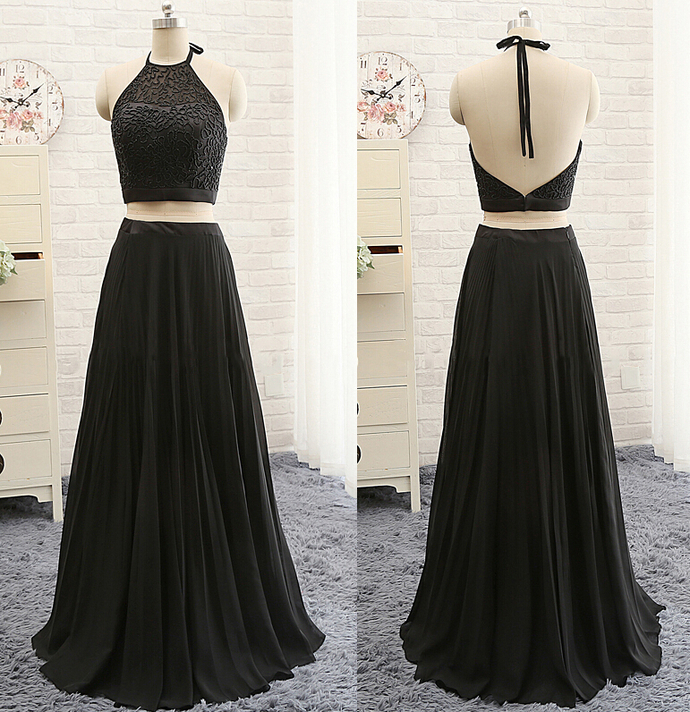 Lack Long Halter Prom Dresses