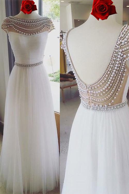 New Prom Dress 2017, Long Prom Dress, White Tulle Long Prom Dress, Cap Sleeves