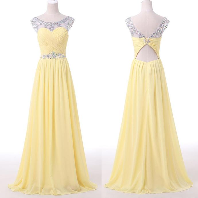 Prom Dress, Long Prom Dresses, Scoop Beading Keyhole Back Pale Yellow Long