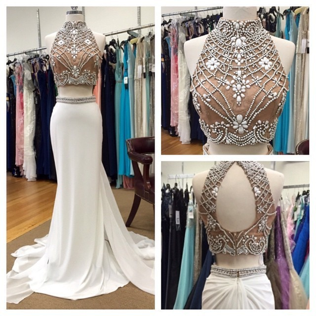 Prom Dresses, Long Prom Dress, White High Neck Beading Keyhole Back Chiffon Long