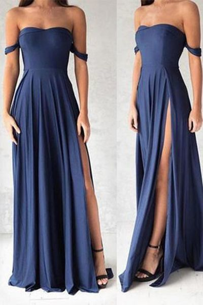 Gorgeous Navy Blue Prom Dresses,Elegant Evening Dresses,Long Formal Gowns,Slit