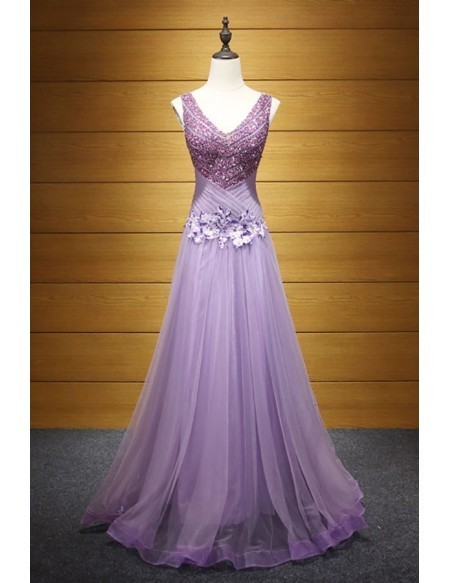 Purple A-line V-neck Floor-length Tulle Prom Dress With Beading 2018
