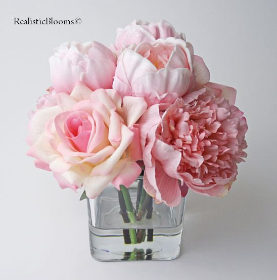 Pink blush silk peonypeonies rose by realisticblooms on zibbet pink blush silk peonypeonies rose faux water acrylic mightylinksfo