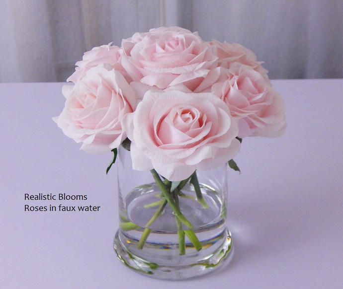 Pinklight Roseroses Glass Vase Faux By Realisticblooms On Zibbet