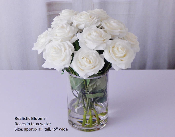 White Roseroses Glass Vase Faux By Realisticblooms On Zibbet