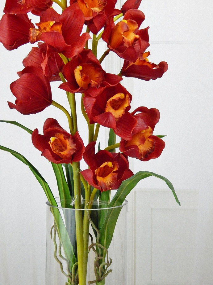 Red cymbidium orchids acrylic water by realisticblooms on zibbet red cymbidium orchids acrylic water faux silk real touch mightylinksfo