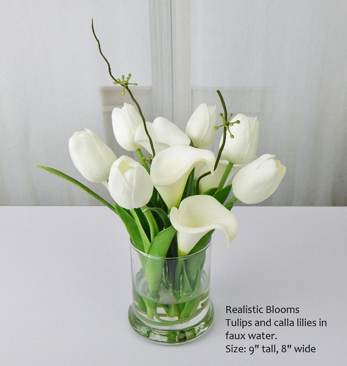 White Offwhite Silk Tulips Tulip Calla By Realisticblooms On Zibbet