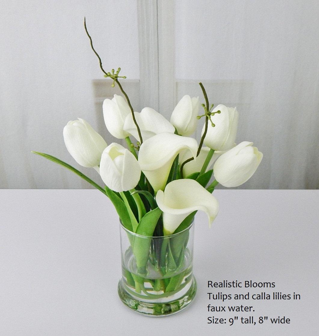 Whiteoffwhite silk tulipstulip calla by realisticblooms on zibbet izmirmasajfo