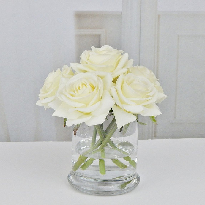 Cream Roseroses Glass Vase Faux Water By Realisticblooms On