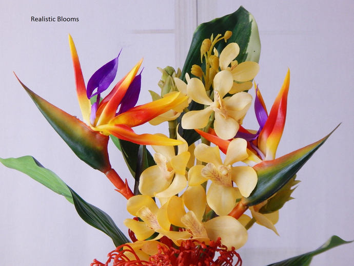 Bird of paradise silk orchids acrylic by realisticblooms on zibbet bird of paradise silk orchids acrylic water fauxillusion mightylinksfo