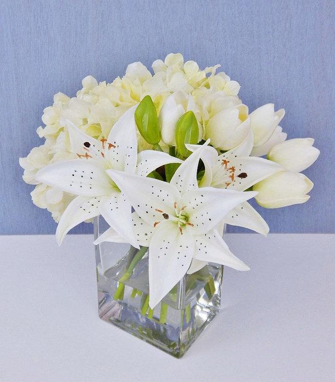 Whitecream silk tulips lilies by realisticblooms on zibbet whitecream silk tulips lilies hydrangea fauxacrylic water mightylinksfo