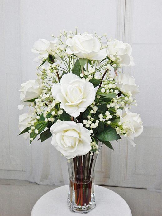 Silk roseroses glass vase by realisticblooms on zibbet silk roseroses glass vase fauxacrylicillusion water mightylinksfo
