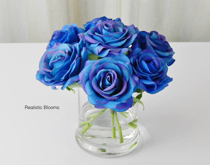 Royal Blue Rose Roses Glass Vase Faux By Realisticblooms On Zibbet