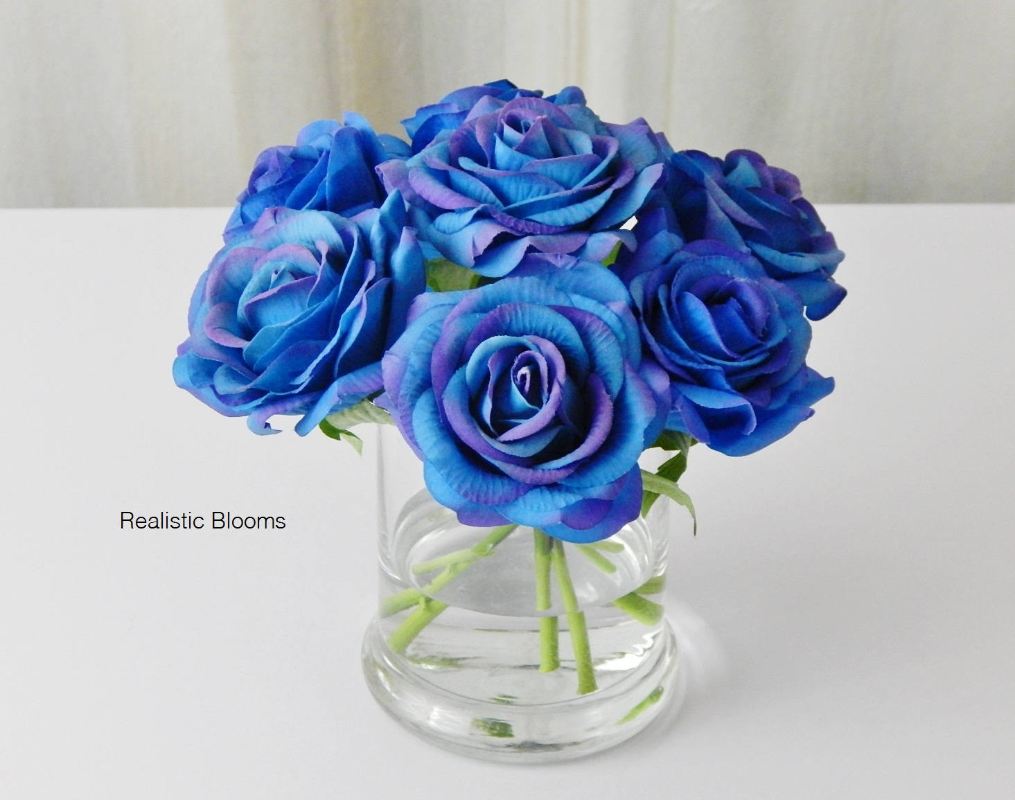 Royal Blue Roseroses Glass Vase Faux By Realisticblooms On Zibbet