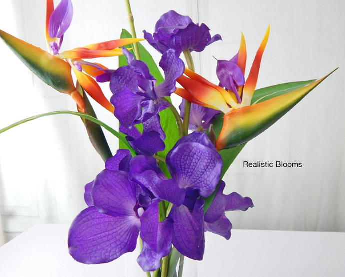 Bird of paradise orchids silk tropical by realisticblooms on bird of paradise orchids silk tropical floral arrangement centerpiece mightylinksfo