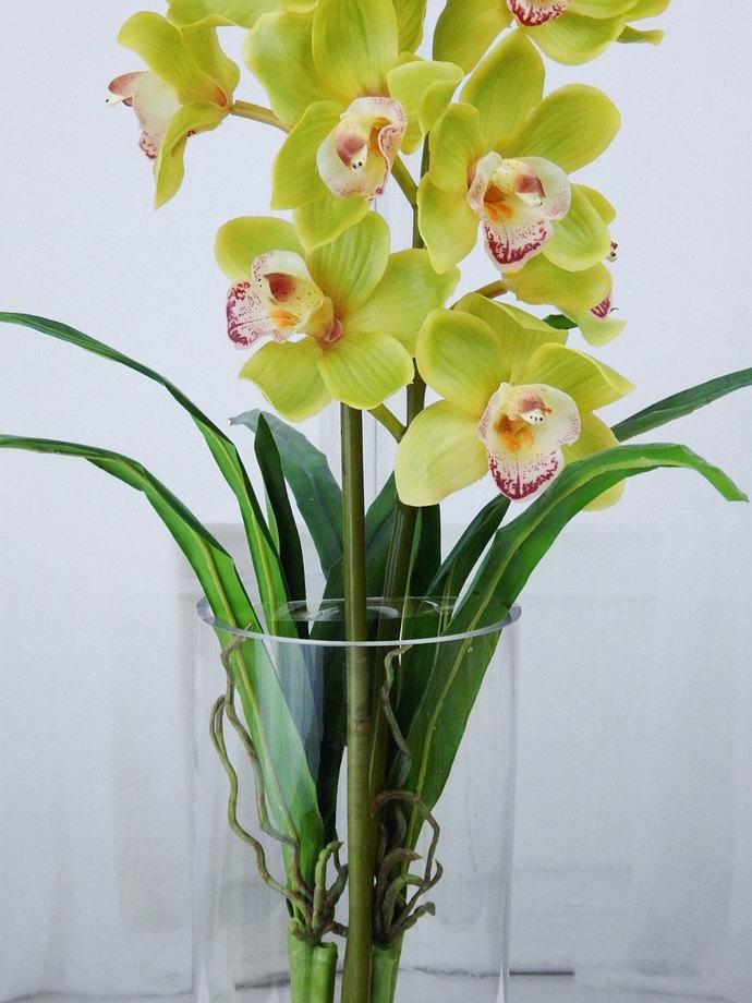 Green cymbidium orchids plant acrylic by realisticblooms on green cymbidium orchids plant acrylic water faux silk mightylinksfo