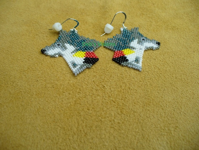 Native American Style Brick Stitched Four Direction Wolf Earrings