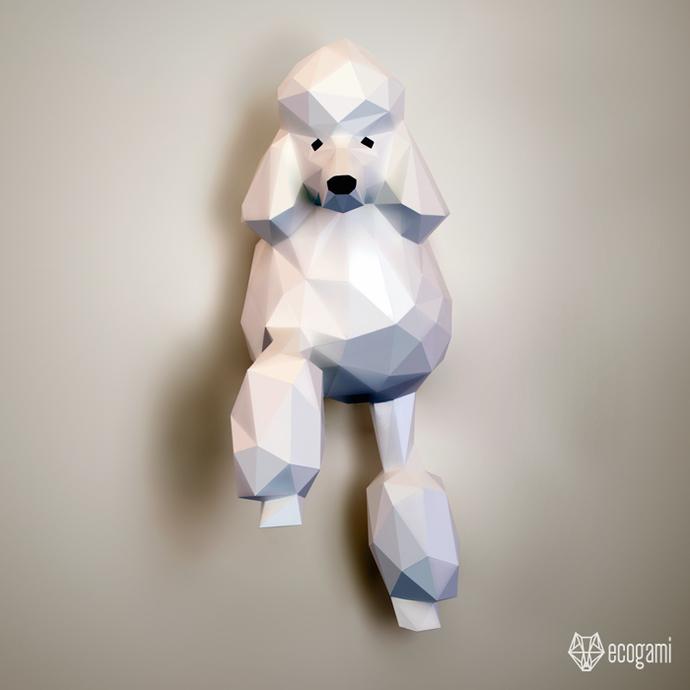 Papercraft poodle   DIY pet wall mount décor   3D sculpture   Printable PDF