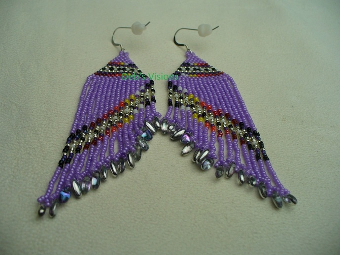 Native American Style Brick Stitched Purple Asymmetrical Fringed Earrings in