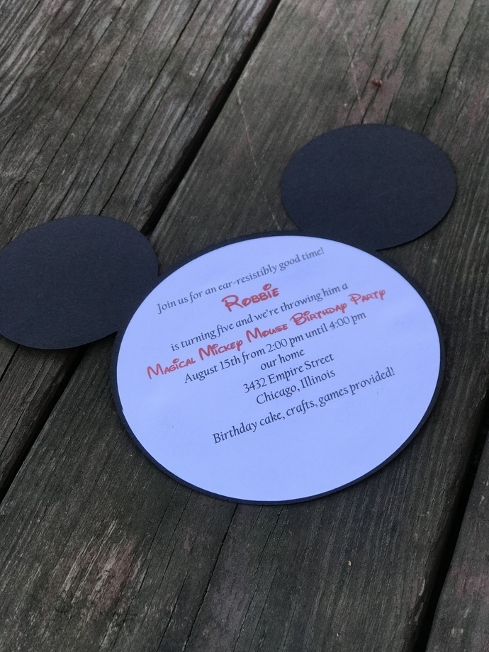 Mickey Mouse or Minnie Mouse Invitation Downloadable Information Form