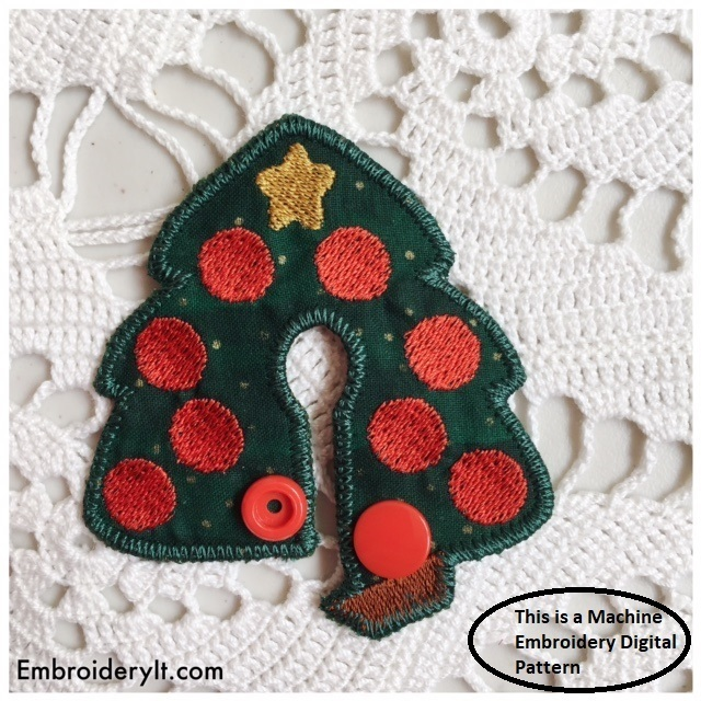 Christmas Tree G Tube Pad Feeding Tube Pad Machine Embroidery File in pes, dst,