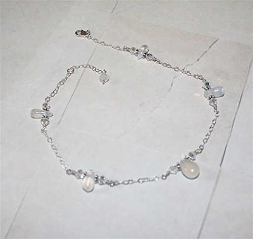 The Moons Light Shimmering Moonstone Sterling Silver Anklet