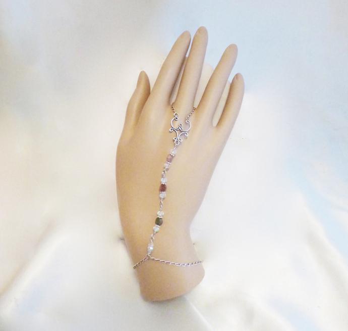 Sterling Silver Tourmaline Gemstone Slave Bracelet