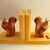 Vintage German squirrels with book, book ends bookends wooden hand carved