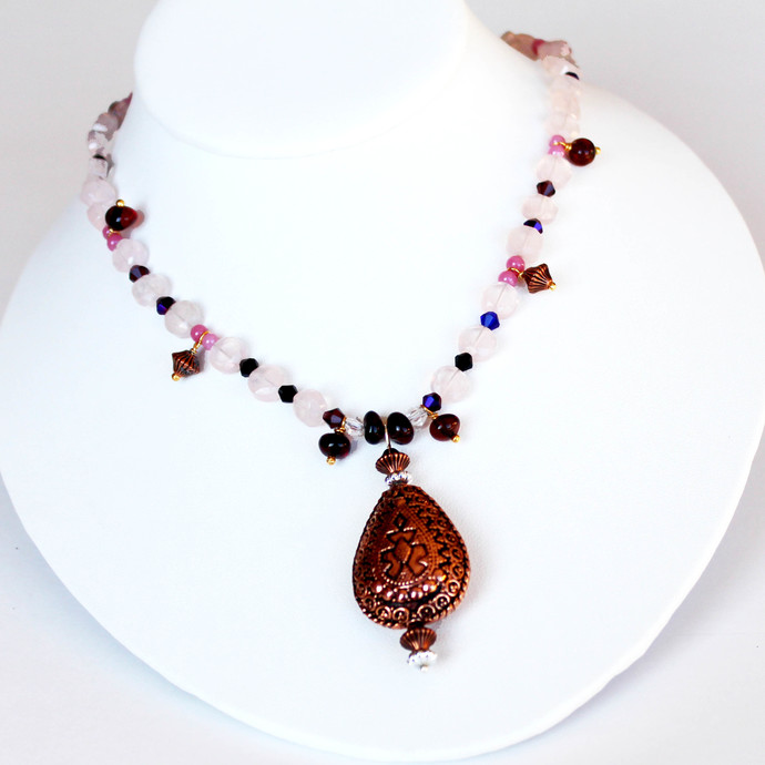 Pink Quartz Beaded Necklace with Copper and Swarovski beads, Pastel Color