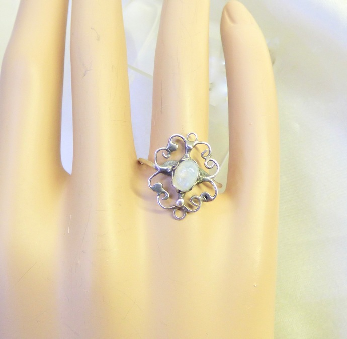 Moonstone Filigree Sterling Silver Ring