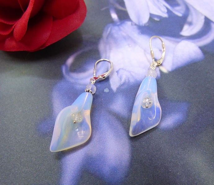 Day Lilly's in Opalite and Rainbow Moonstone Sterling Silver Earrings