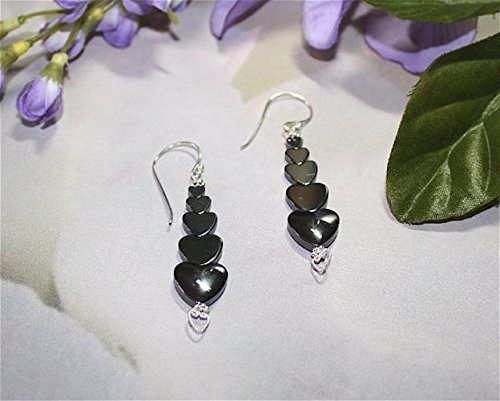 Sterling Silver Graduated Hematite Hearts Earrings