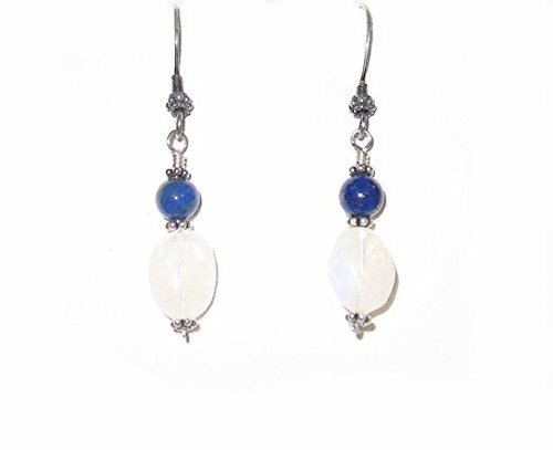 Rainbow Moonstone and Lapis Drop Earrings Sterling Silver