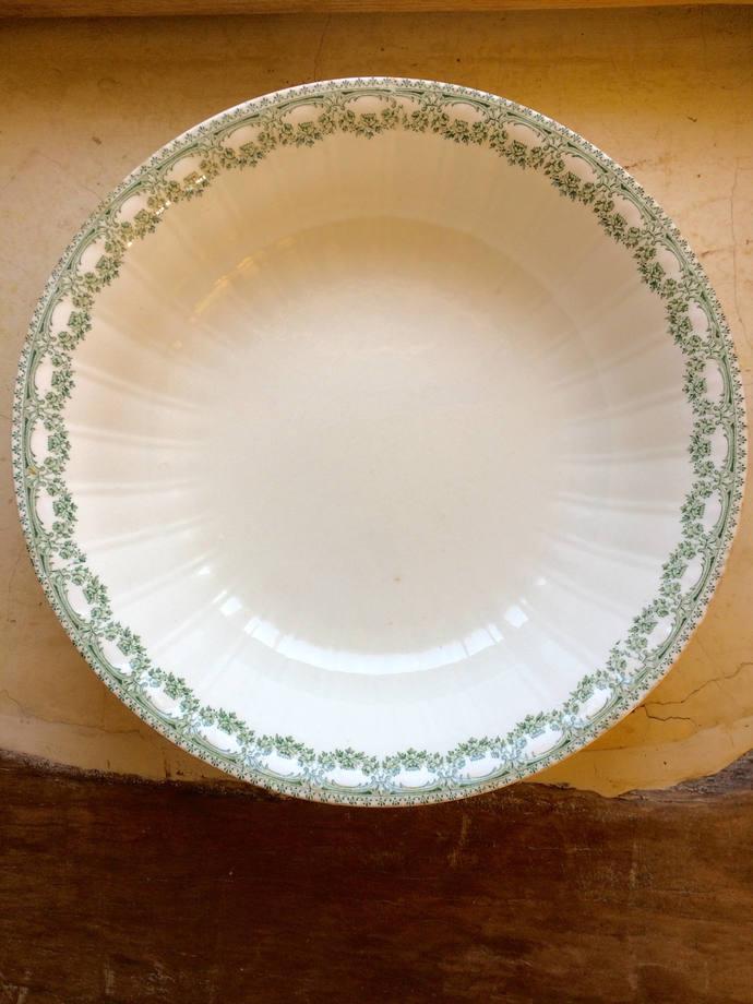 Boch Freres salad bowl | Carlotta design deep bowl | Earthenware bowl with green